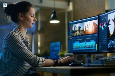 Woman making video edits