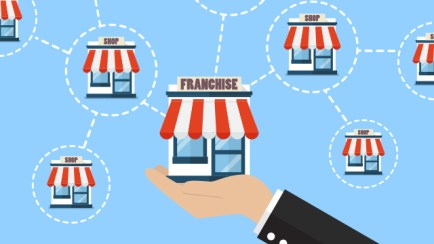 Graphic logo about franchising