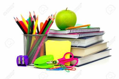 Pencils, books, stapler, paper punch, paper clips