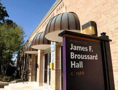 Broussard Hall is reserved for students in the Visual and Performing Arts Residential College.