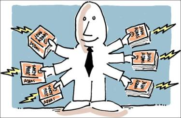 A cartoon of a person holding different books in 6 arms