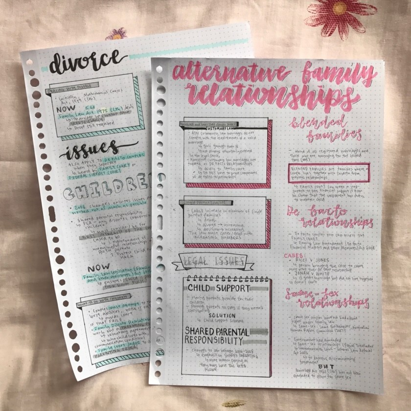 An image of notes that illustrate topics on divorce and alternative family relationships