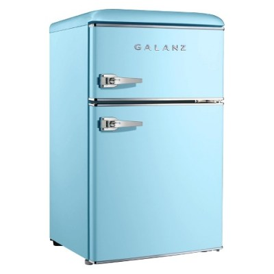 A two-door and blue refrigerator