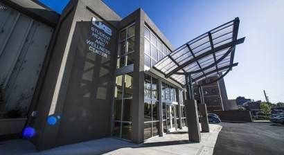 the main entrance of UAB health and wellness center