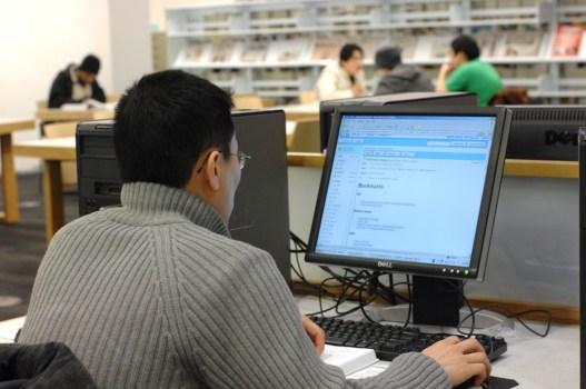 A boy uploading notes online