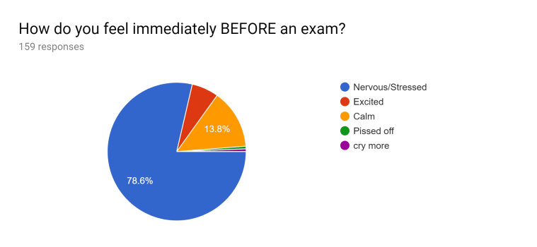 How do you feel immediately BEFORE an exam? Pie chart