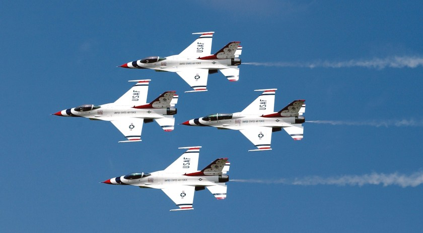 """BARKSDALE AIR FORCE BASE, La. -- The U.S. Air Force Thunderbirds perform at the 2003 """"Defenders of Freedom"""" air show held May 10-11.  (U.S. Air Force photo by Staff Sgt. Denise A. Rayder)"""