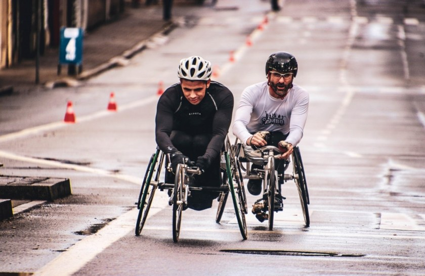 People with disability riding on their bikes