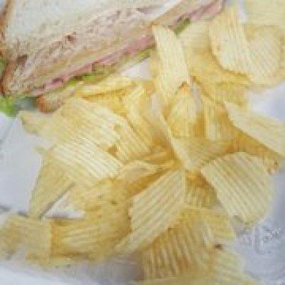a sandwich and potato chips
