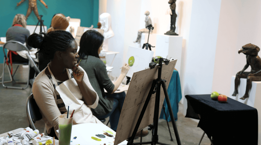 Students in a drawing class session