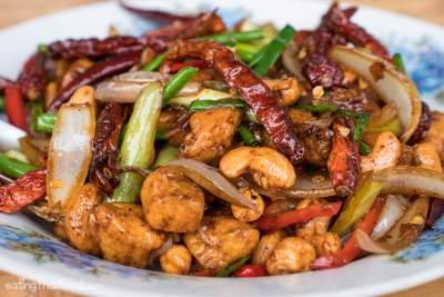 thai cashew chicken in plate