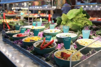 salad bar serving at the restaurant