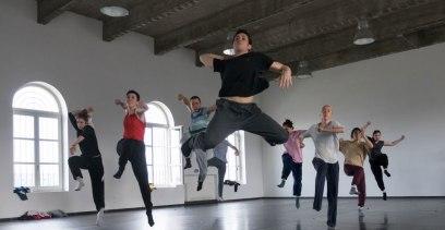 Contemporary hip hop dancers rehearsing