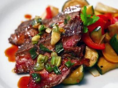 grilled flank steak with fried vegetables