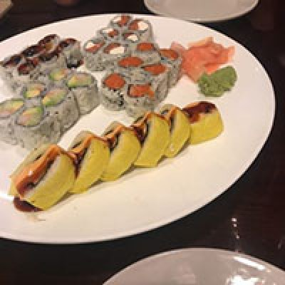Serving of different types of Sushi in plate