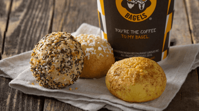 mini bagel bites and coffee