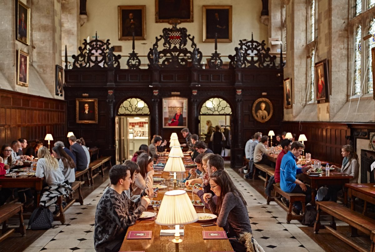 Dining in the halls of University of Exeter