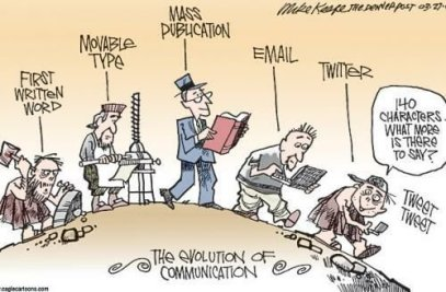 An image showing the evolution of Mass Communication