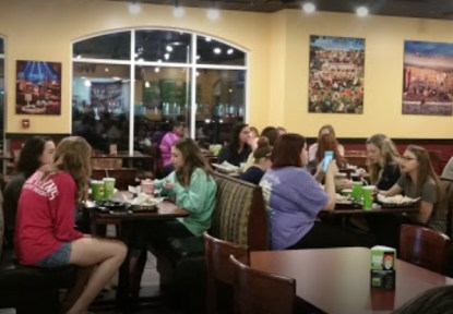 Students enjoying their meals at the Moe's Southwest Grill