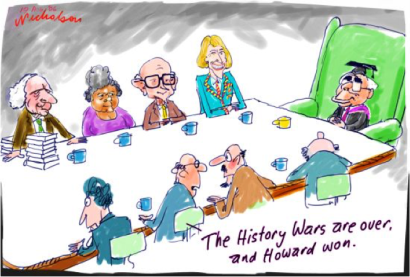 This is a cartoon showing how public history is made