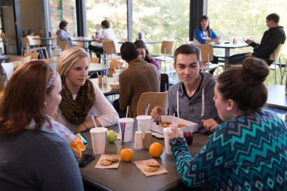 Students enjoying their meals at the Quad Cafe