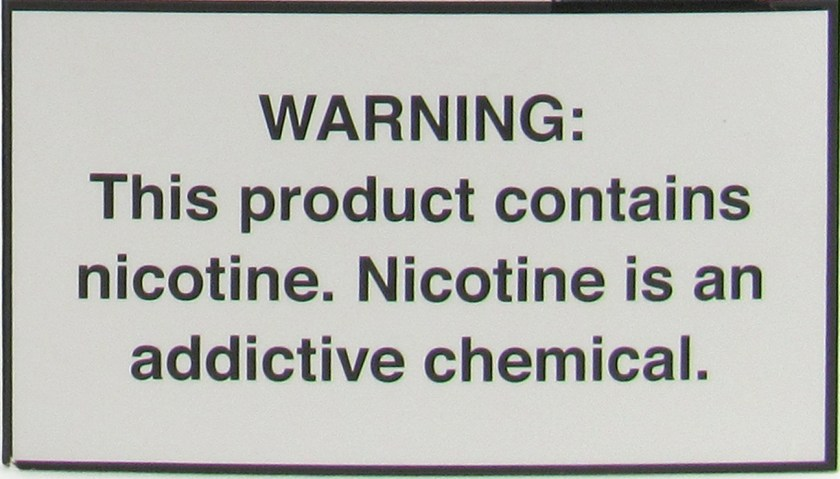 nicotine warning label stating that nicotine is harmful and an addictive chemical