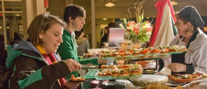 Students taking meals at the Zorn Dining Commons
