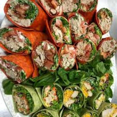 catered wraps on a plate