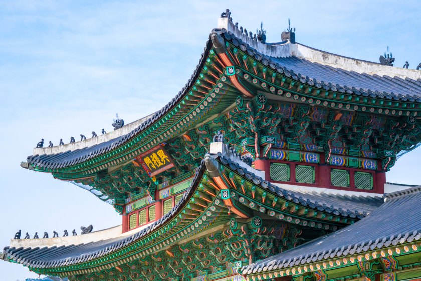 Traditional South Korean temples showcasing the intricacy and detail of the Korean architecture. A great benefit to the easiest job of teaching abroad.