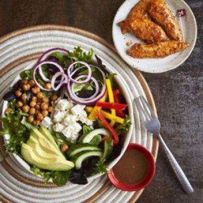 a salad and chicken peri peri
