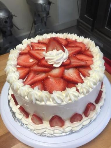 a gluten free cake with strawberries