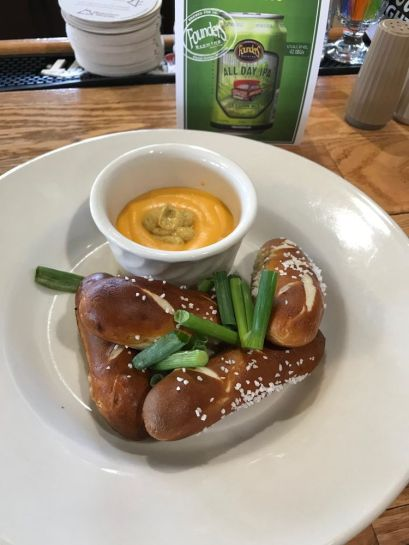 pretzels with a cheese sauce