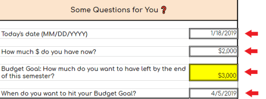 Image of an excel sheet with the title: Some questions for you?  It asks what is today's date, how much money do you have now, what is your budget goal and when do you want to hit it.