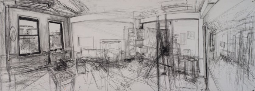 A black and white sketch of a studio