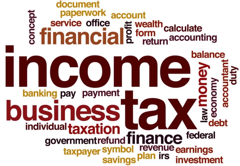 Popular terminologies in Income Tax Accounting in a word cloud