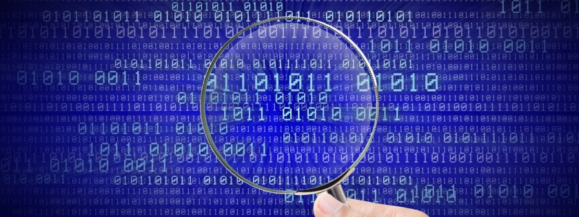 magnifying glass over numerical data
