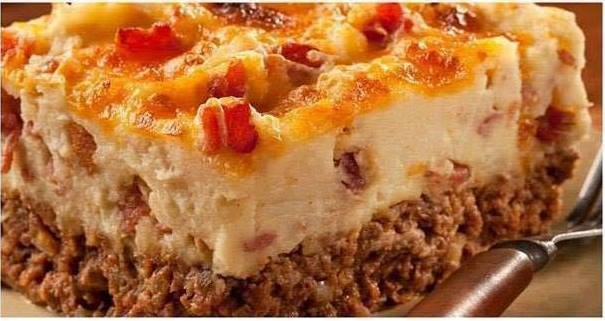 Meat Loaf and Potato Casserole with Bacon