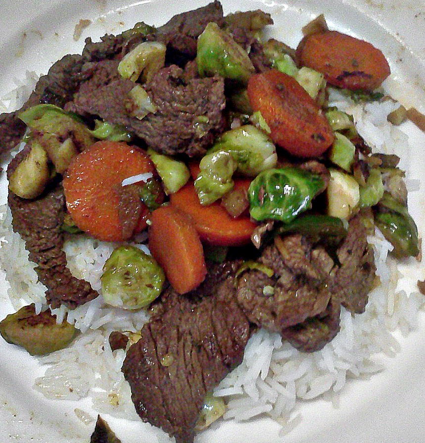Steak and brussel sprouts stirfry