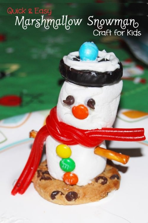 Quick And Easy Marshmallow Snowman Craft For Kids