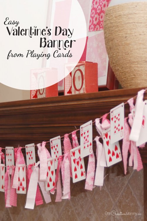 Playing Card Valentines Day Banner