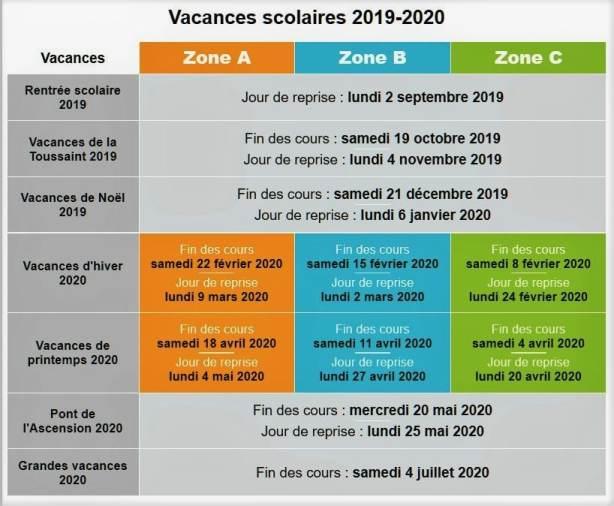 vacances scolaires 2019-20