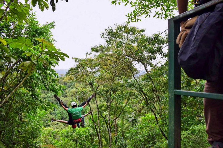 Zip-lining in Mindo