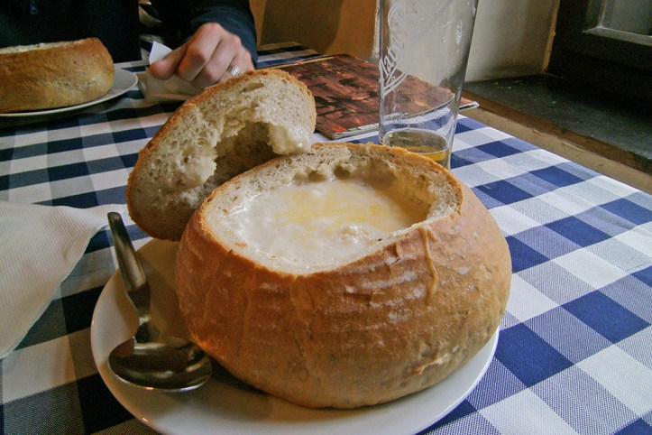 Garlic Soup in Bread bowl - Slovak Pub