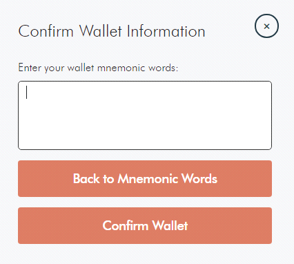 Confirm Wallet Information