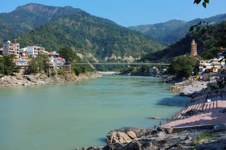 View of Ganges and Laxman Jhula, Rishikesh