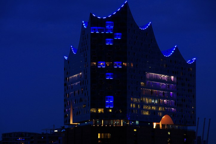 The Elbphilharmonie at night, Hamburg