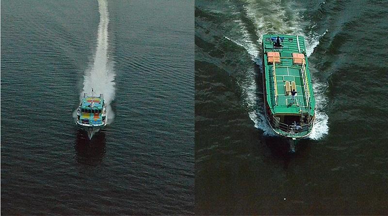 レインボーブリッジをくぐり抜ける船