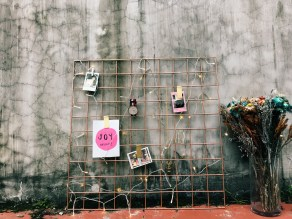 Rose gold wall grid organiser (S$45)