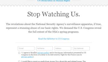 Stop Watching Us: Campaña apoyada por Mozilla que solicita al Congreso la investigación de la NSA