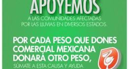 Comercial Mexicana duplicará las aportaciones que donen sus clientes en apoyo a las personas afectadas por las lluvias